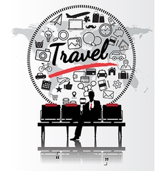 Silhouette people with travel concept vector