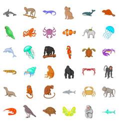 Wildlife icons set cartoon style vector