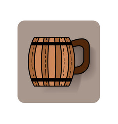 Wooden mug for beer drinks color flat icon with vector