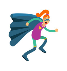 Young redhead woman in classic superhero costume vector
