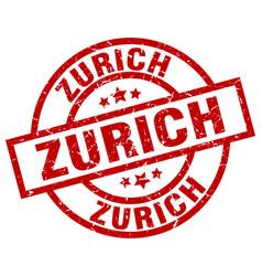 Zurich red round grunge stamp vector