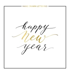 Happy new year gold text isolated on white vector