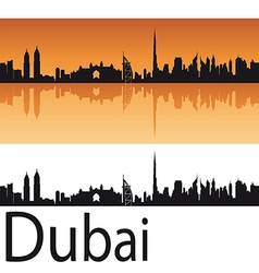 Dubai skyline in orange background vector