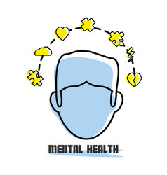 man with healthy mentality icons around vector image