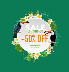 Summer sale tropical flowers and birds banner vector