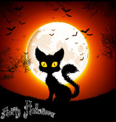 Halloween background a cat vector