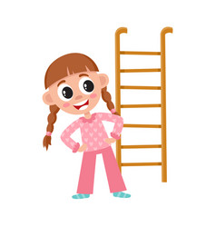 Flat girl kid and ladder vector