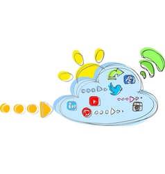 Cloud with internet and social network icons vector