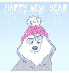 Husky new year vector
