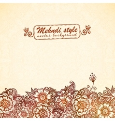 Vintage background in Indian henna mehndi style vector image