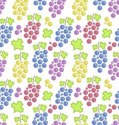Seamless pattern with colorful bunches of grape vector