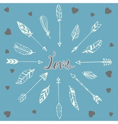 Romantic card with hand drawn doodle feathers vector