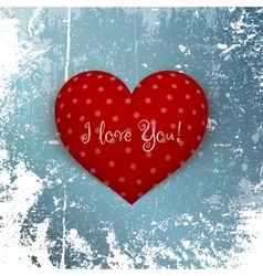 Valentines day red heart on winter background vector