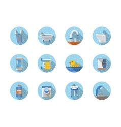 Bathroom and hygiene round flat icons vector
