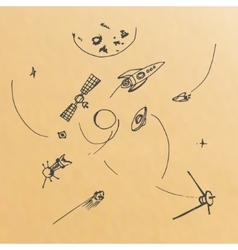 Hand drawn of planets ans space objects vector