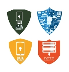 Web hosting and data security design vector
