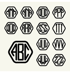 Set 2 template create monogram three letters vector