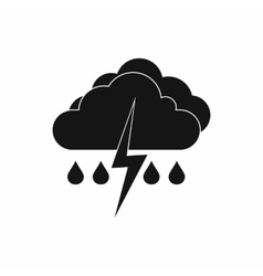 Cloud with lightning and rain icon simple style vector