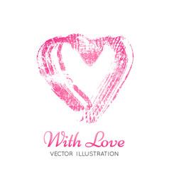 A bright pink imprint of the lipstick heard vector