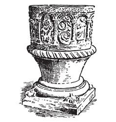Baptismal font at tidenham vintage vector