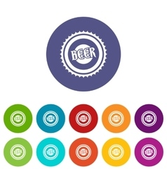 Beer bottle cap set icons vector image