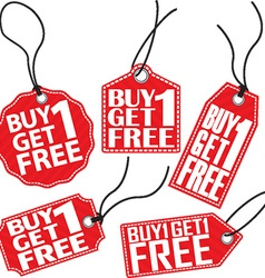 Buy 1 get 1 free red tag set vector