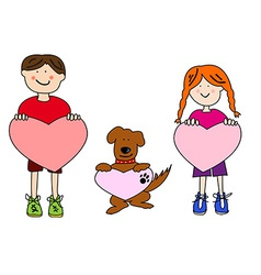Cartoon kids and dog holding heart shapes vector