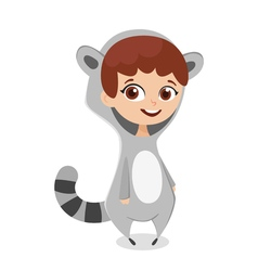 cartoon style of girl in costume raccoon Isolated vector image vector image