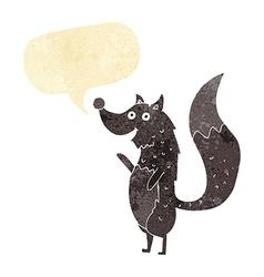Cartoon waving wolf with speech bubble vector