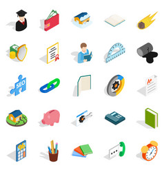 Chemistry icons set isometric style vector