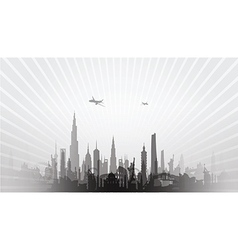 Cityscape with planes black vector