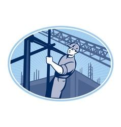 Construction worker scaffolding retro vector