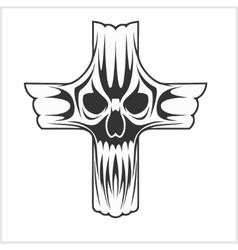 Cross with skull vector