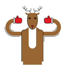 deer santa isolated christmas animal beast for vector image