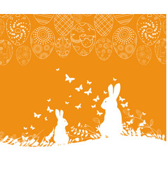 Easter greeting card with rabbit ornamental eggs vector