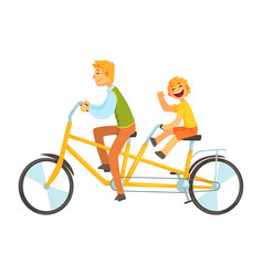 father and daughter riding on tandem bicycle vector image