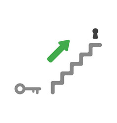 flat design concept of stairs with keyhole and vector image
