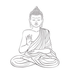 Gautama buddha with raised right hand on vector