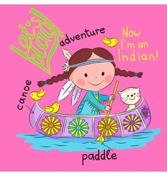 Girl playing in the indian vector
