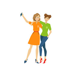 Girls make selfie hugging flat isolated vector