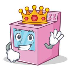 King gas stove character cartoon vector
