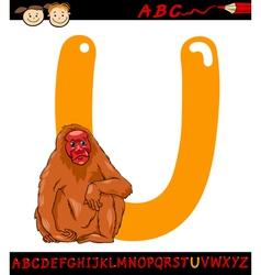 letter u for uakari cartoon vector image vector image