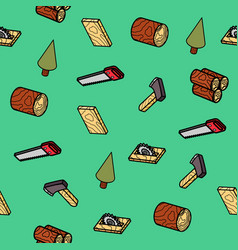 Lumberjack flat outline isometric pattern vector