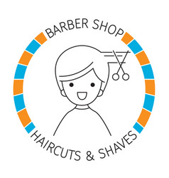 Man on banner barber shop haircuts and shaves vector