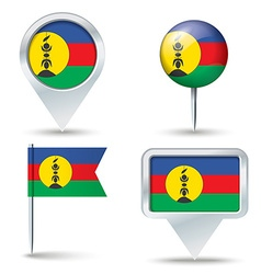 Map pins with flag of New Caledonia vector image vector image