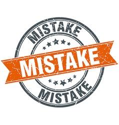 Mistake round orange grungy vintage isolated stamp vector