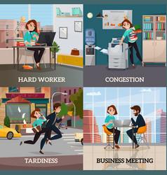 Multitasking 2x2 design concept vector