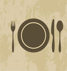 plate knife fork spoon vector image vector image