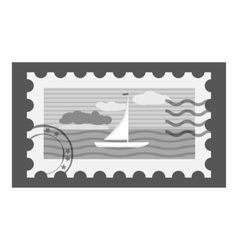 Postage stamp icon gray monochrome style vector