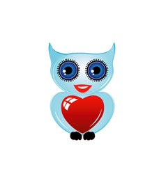 Pretty owl with a red heart vector image vector image
